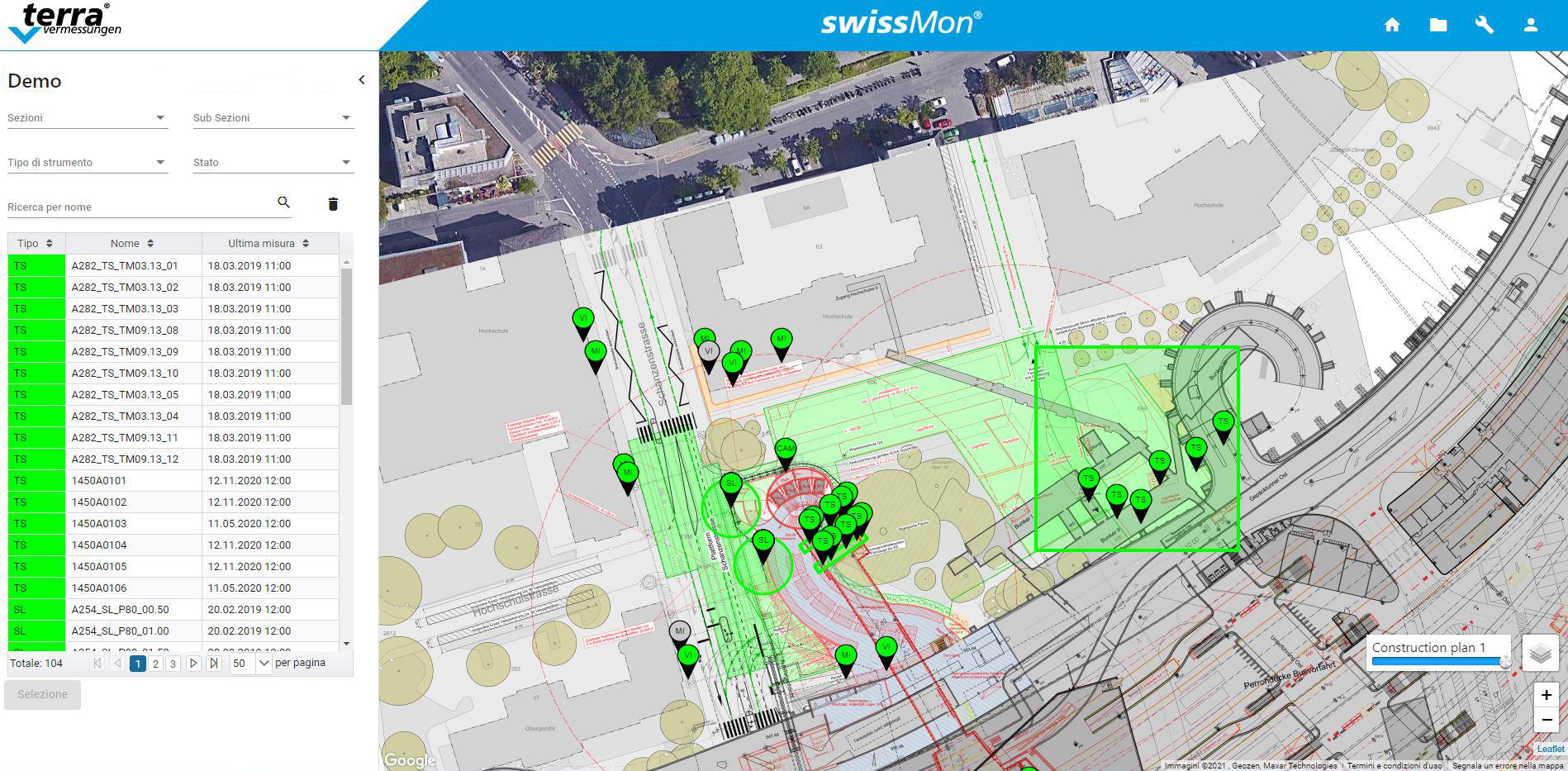 Acquisizione dati rapida grandi aree di monitoraggio